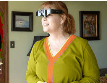 Woman Wearing Low Vision Glasses